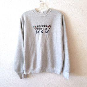 Vintage 80s Worlds Greatest Best Mom Sweatshirt XL